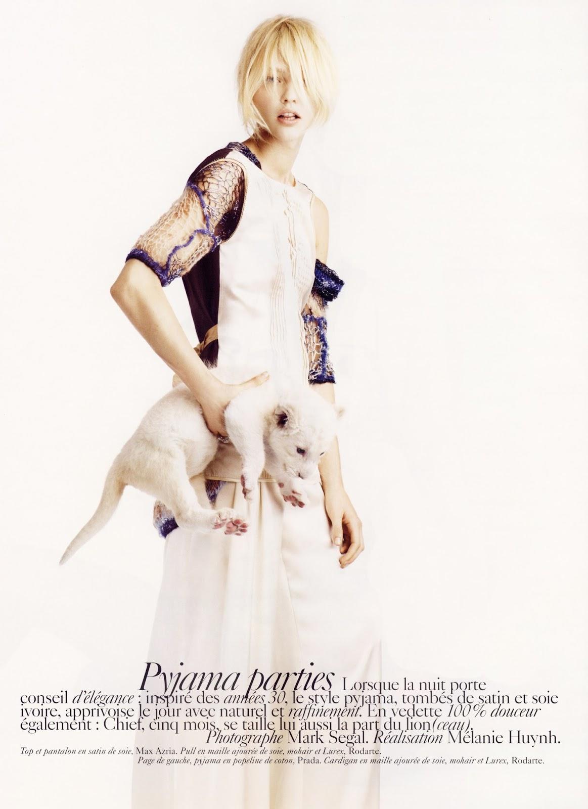 Sasha Pivovarova in Vogue Paris December-January 2007-2008 (photography: Mark Segal, styling: Melanie Huynh)