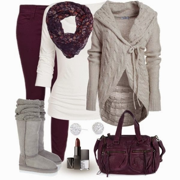 Grey cardigan, scarf, white sweater, warm long boots and handbag for fall