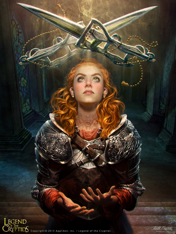 illustration de Will Murai représentant une femme faisant léviter des dagues croisées