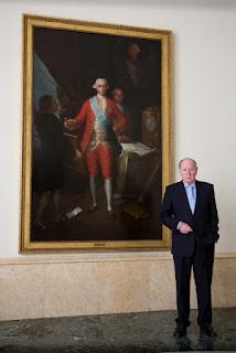 José Luis Pardos junto al retrato de Floridablanca.