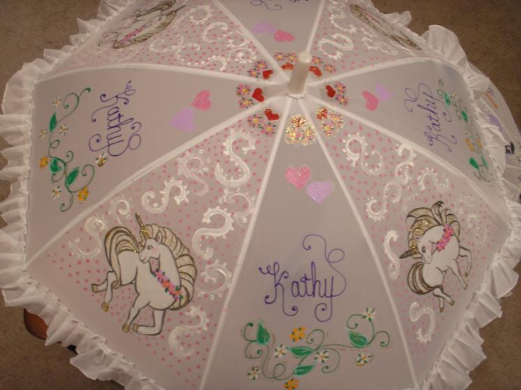 white unicorn parasol
