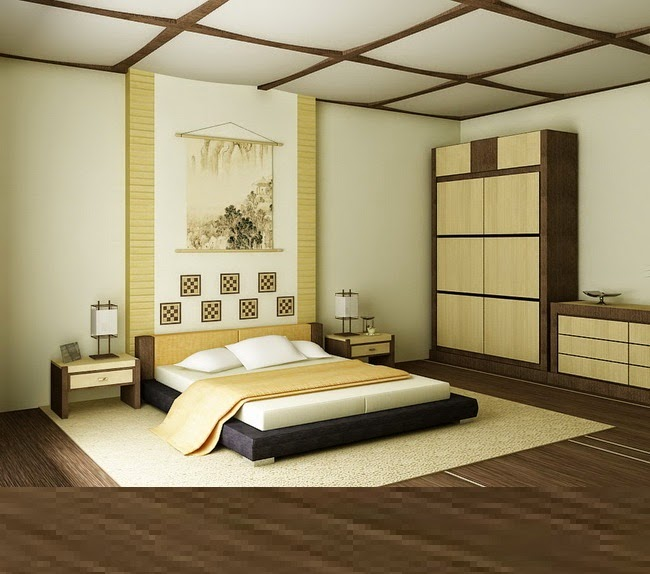 Japanese bedroom furniture design, glass wood ceiling design