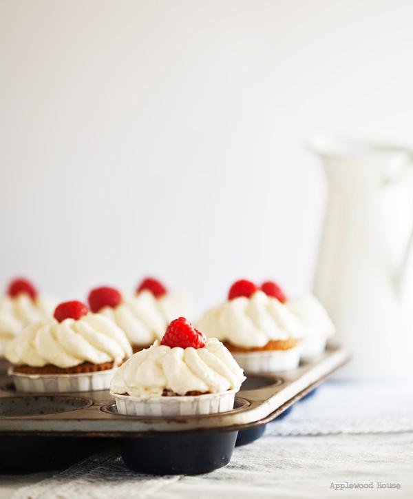 Cupcakes Muffinform Kokos weiße Schokolade Himbeere