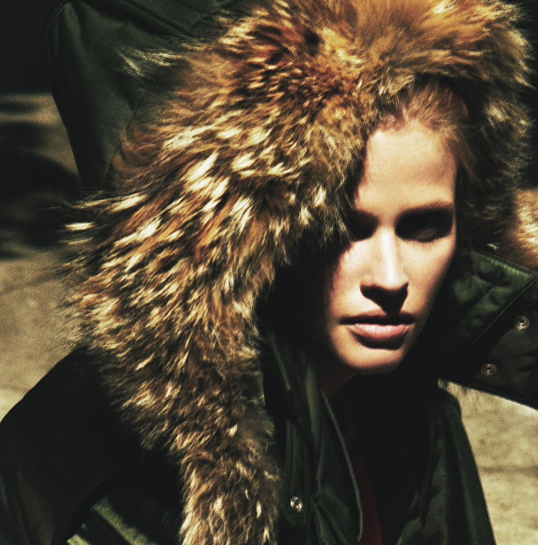 Lara stone by Mert & Marcus styled by Edward Enninful, oversized fur hood