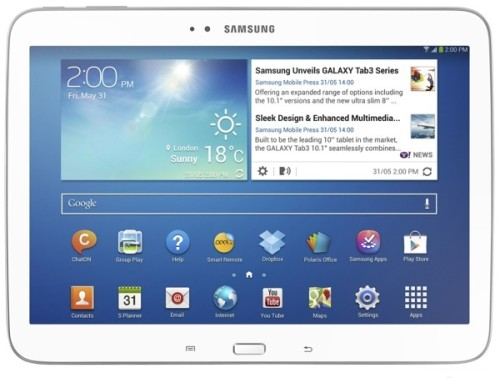 Display da 10 pollici, android 4.2.2 e processore dual core Intel Atom per il nuovo tablet Galaxy Tab 3 10.1 di Samsung