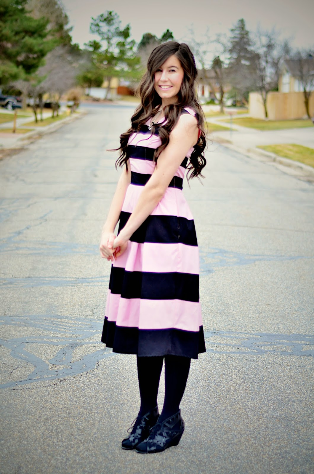 eshakti, eshakti dress, pink and white, pink and black striped dress, pink dress, pink dress outfit, valentines day, valentines day inspired outfit,