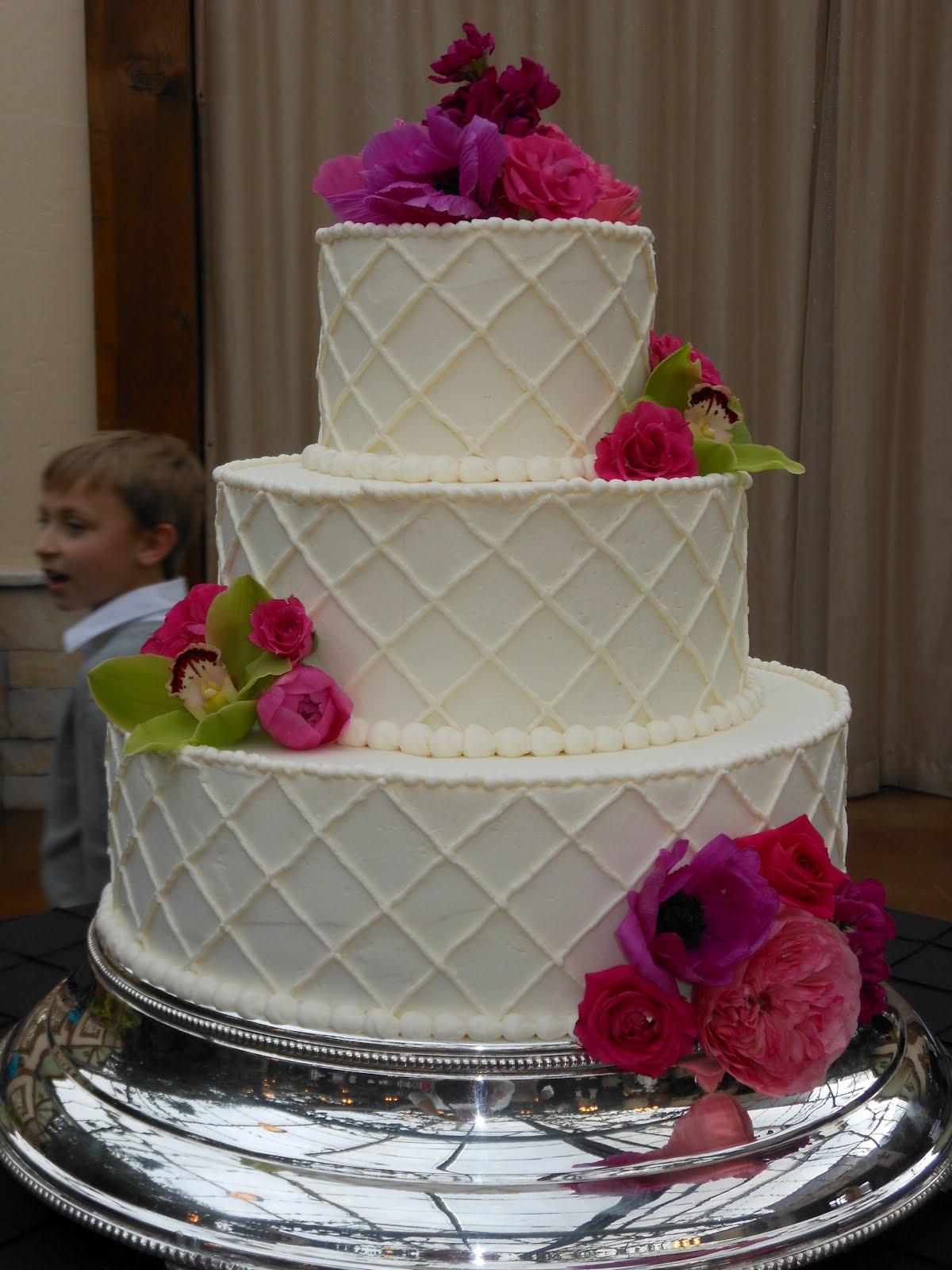 Its A Piece Of Cake Pink Flower Buttercream Lattice Wedding Cake