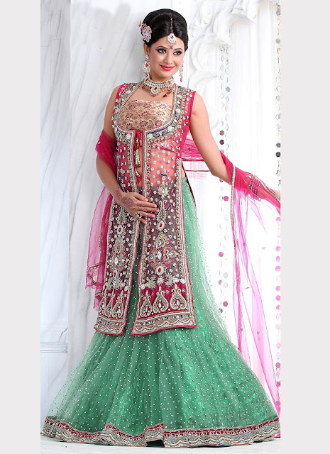 open shirt choli with flared lehenga