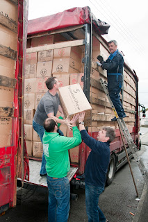 Loading shoe boxes for charity