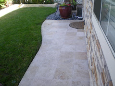 Tumbled Travertine Front Walkway & Back Patio