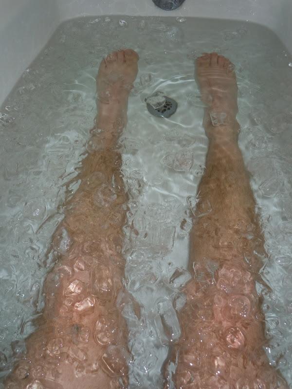 Post run ice bath legs