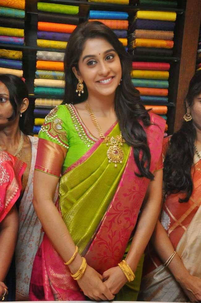 Regina Cassandra In Parrot Green Silk Saree