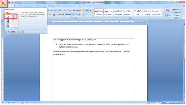 Cara Menggunakan Fitur Mail Merge Di MS. Word 2007 2