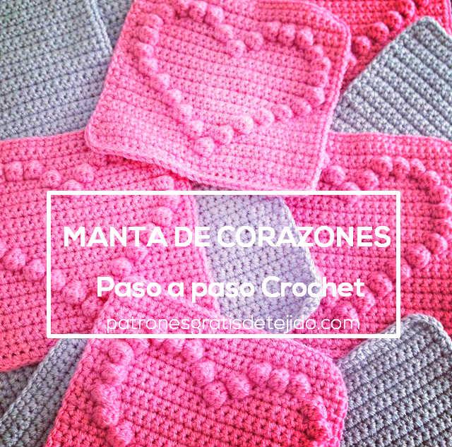 Manta de corazones al crochet y c mo calcular cantidad de - Como hacer una manta de lana para el sofa ...