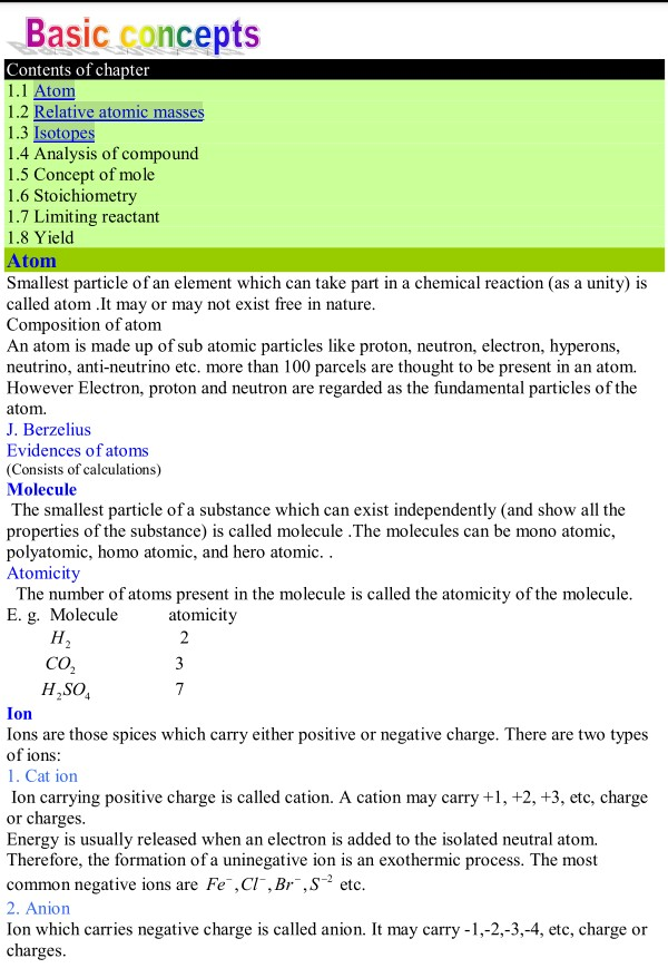 Inter part 11st year Chemistry notes chapter 1 basic concepts – Basic Chemistry Worksheet
