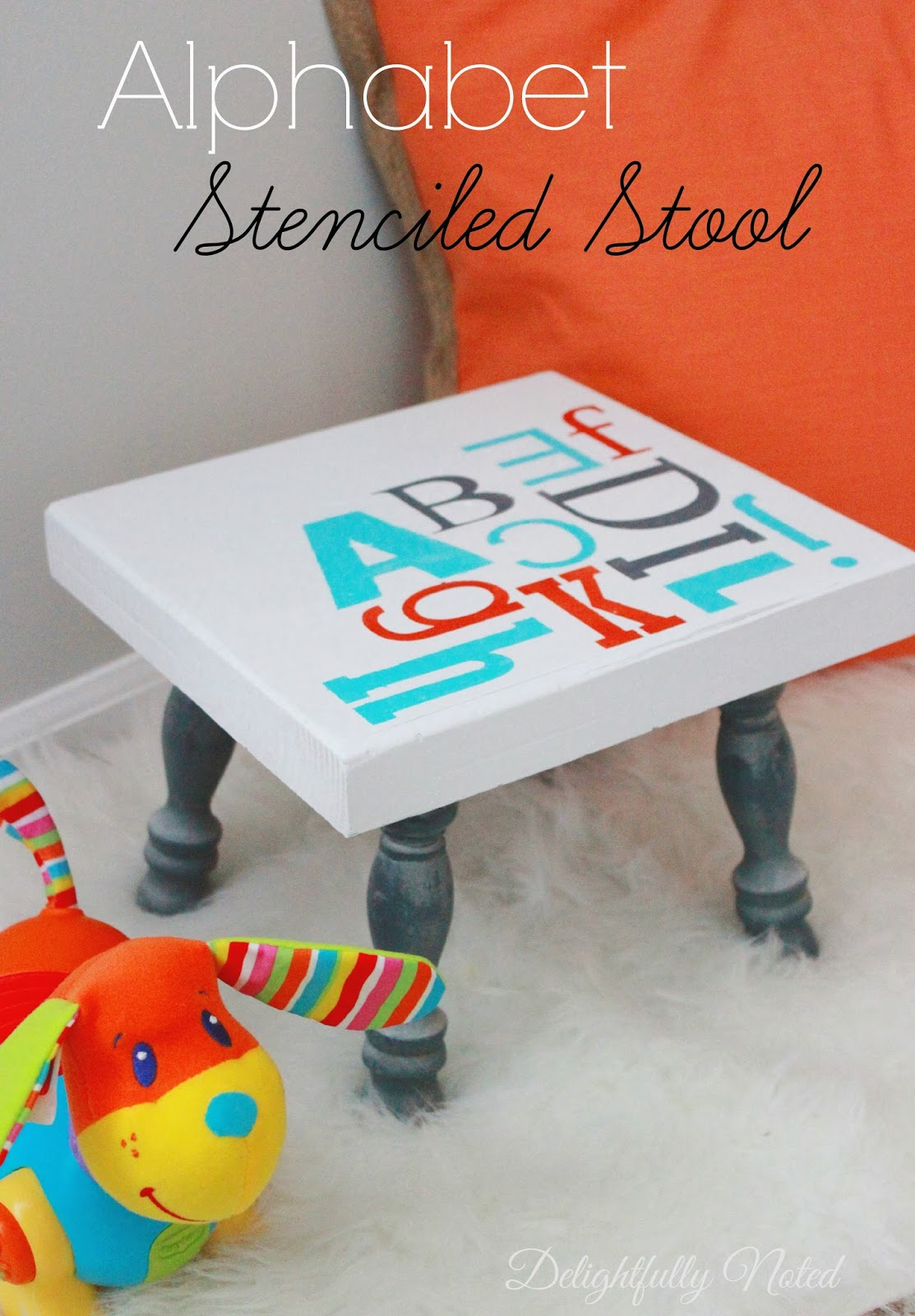 http://delightfullynoted.blogspot.com/2014/03/alphabet-stenciled-stool.html