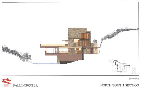 fallingwatwer+casa+de+la+cascada+frank+lloyd+wright+architect+south+elevation+drawings+plans+planos+renderings+section+secci%C3%B3n+norte+north+south+house 495