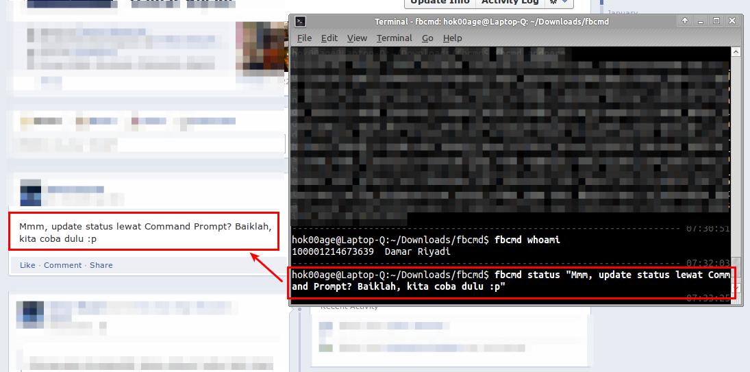 Update status Facebook lewat Terminal