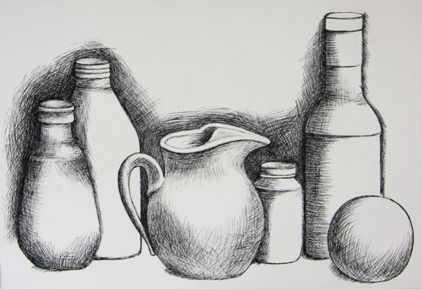 Scribble Drawing Objects : Basic drawing sketchbook exercise line into value