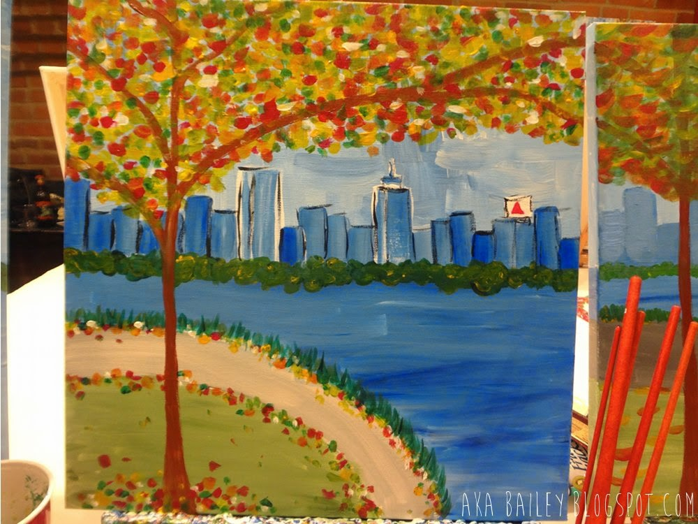 Autumnal tree, Boston skyline next to the Charles, painting