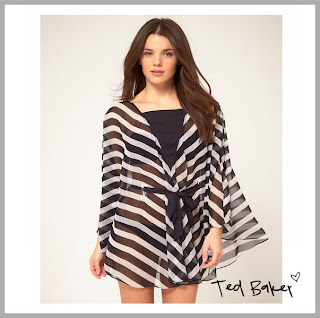 Black and white stripe beach caftan
