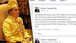 Raja Muda Selangor tidak murtad
