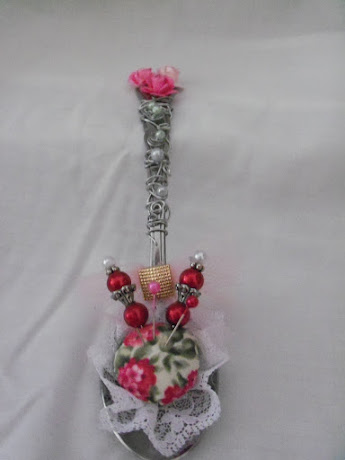 Vintage Rose Tea Spoon Pin Cusion