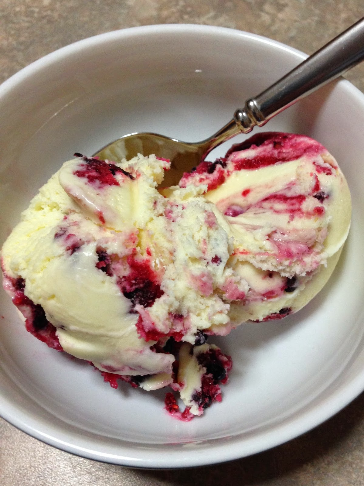 White Chocolae Ice Cream with Berry Swirl: Savory Sweet and Satisfying