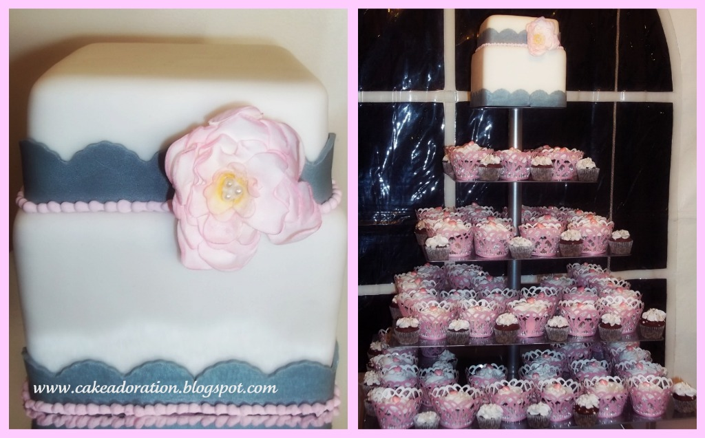Artis Wedding Cake : Pink And Gray Cupcake Wedding Cake Foto Artis - Candydoll