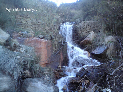 Waterfall seen in the Garhwal Himalayas in Uttarakhand during the Char Dham Yatra