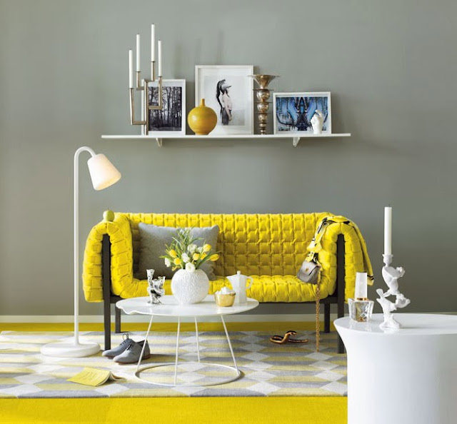 Magnificent yellow and grey living room design