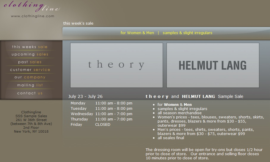 fashionably petite: Helmut Lang and Theory Sample Sale!