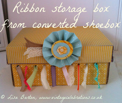 http://vintage-celebrations.blogspot.co.uk/2013/11/diy-ribbon-storage-box-from-old-shoebox.html