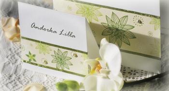 """Esküvői ültetőkártya s meghívó """"zöld virágos"""""""