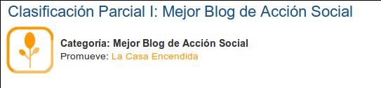 CLASIFICACIÓN PARCIAL: MEJOR BLOG DE ACCIÓN SOCIAL 2013