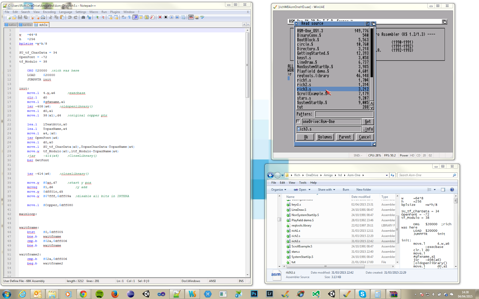 My Windows setup with WinUAE, AsmOne and Notepad++