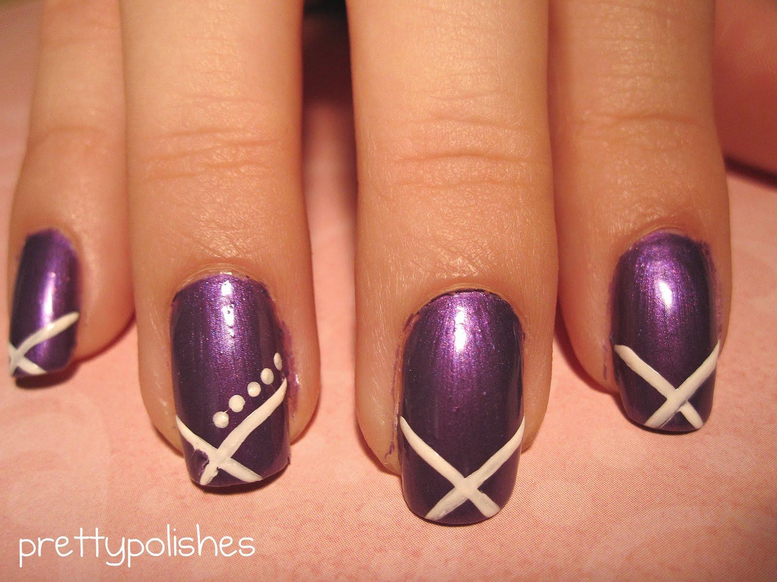 Prettypolishes Simple Purple And White Nail Design