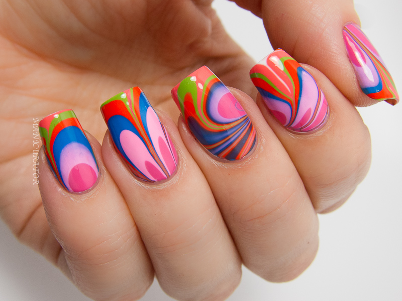 Manicurator Zoya Summer 2014 Tickled Watermarble Nail Art
