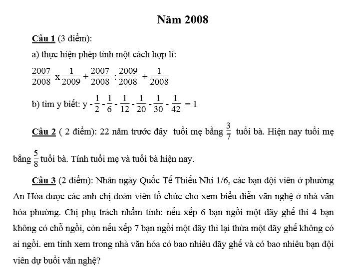 Đáp án đề thi vào lớp 6 môn toán Merie curie năm 2008 - 2009