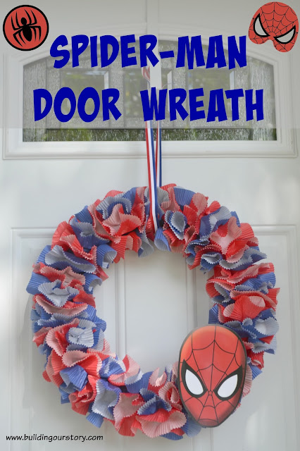 How to Make a Spider-man Wreath #DIY, Spider-man birthday party decorations, Spiderman party decorations, spiderman door wreath, Spiderman birthday party, Spider-Man birthday party.