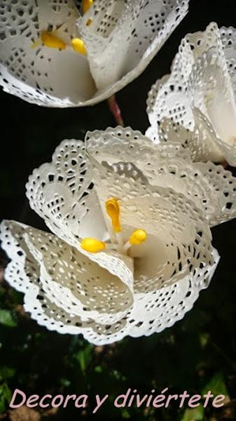 Flores utilizando blondas de papel , un DIY paso a paso muy f�cil de hacer
