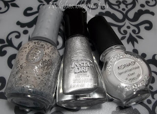 Orly 'Peaceful Opposition', Sally Hansen Insta-Dri 'Silver Sweep', and Konad Special Polish in White