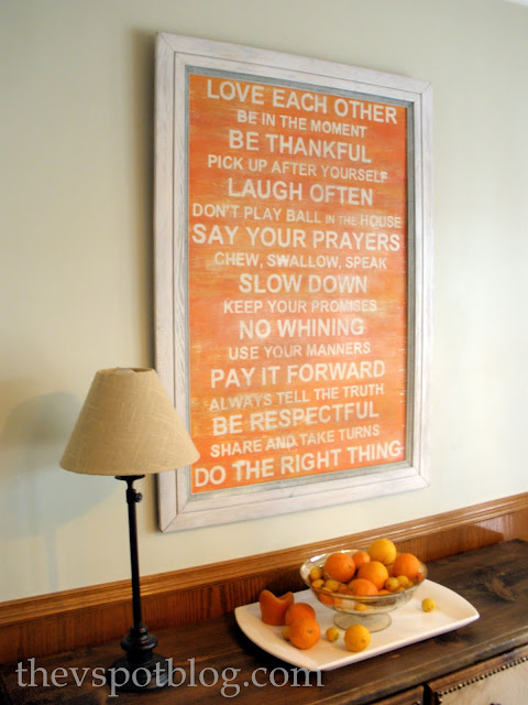 subway art, family rules, orange, distressed, DIY