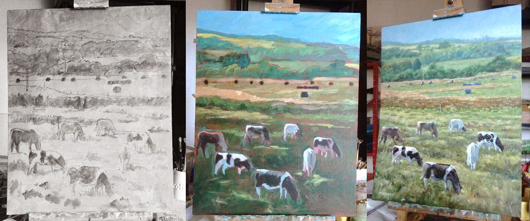Cows in Devon field oil painting, WIP artist Martin Davey