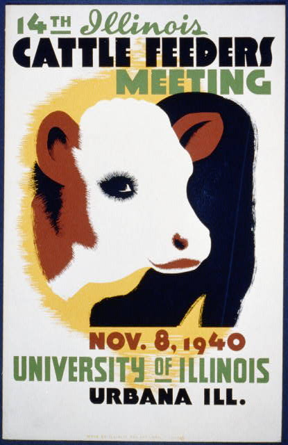wpa, vintage, vintage posters, advertising, graphic design, retro prints, free download, illinois, Cow Feeders Meeting Vintage Poster - University of Illinois - Urbana, IL 1940