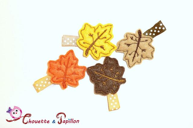 barrettes enfants, feuilles automne, barrettes anti glisse