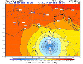 Hurrikan, Mittelmeer, Am Freitag 7. September 2012 eventuell Kategorie-1-Hurrikan-Tiefdruck im Mittelmeer, Europa, aktuell, September, 2012,