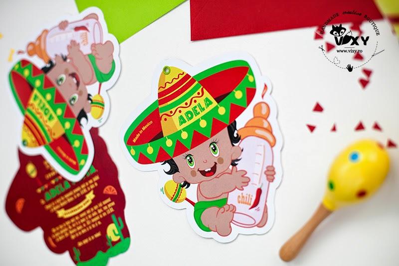 invitatie bebe mexican, invitatie personalizata, invitatie deosebita botez, papatarie personalizata botez, invitatie deosebita, invitatie tema mexicana, bebelus mexican, vixy.ro, papetarie personalizata eveniment