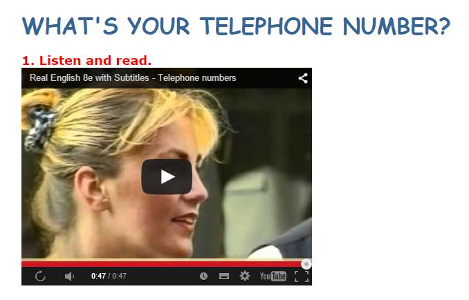 VIDEO TELEPHONE NUMBER