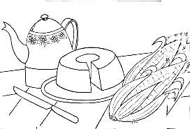 desenho de bolo e milho para pintar